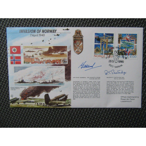 JS/50/41/4 Invasion of Norway Signed Kenneth Cross & Major Partridge 28/05/90 - uk-cover-lover
