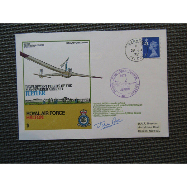 'Jupiter' Cover Signed 'John Potter' PM 'World First Man Powered AirMail' 1972 - uk-cover-lover