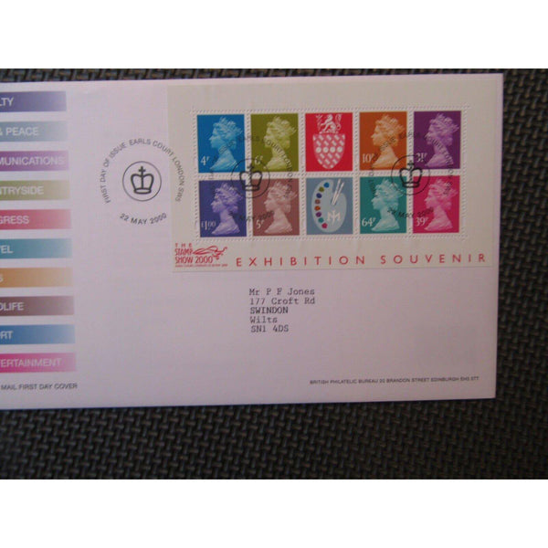 2000 Stamp Show Exhibition Souvenir Mini Sheet FDI 'Earls Court' Cover 22/05/00 - uk-cover-lover