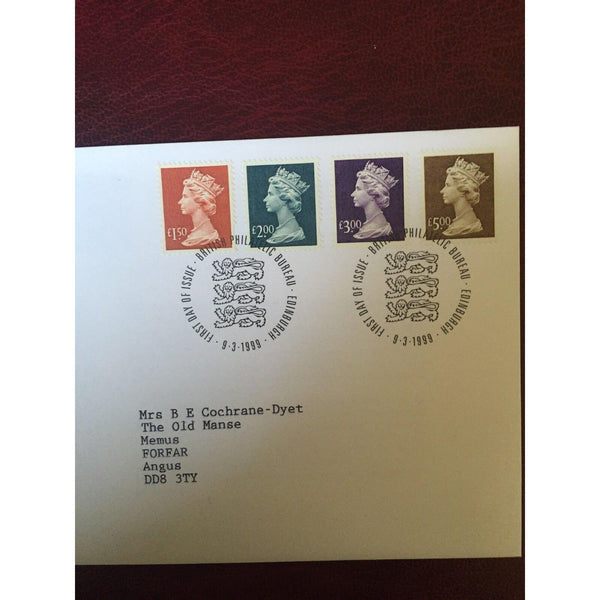 G.B. 1999 New Definitive set on First Day Cover PM Edinburgh Bureau 09/03/99 - uk-cover-lover
