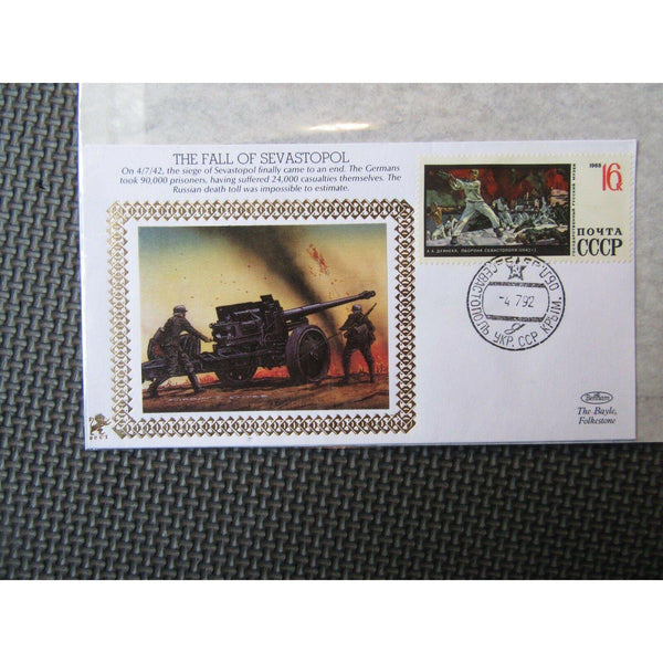 "Benham 22ct Gold Small Silk WWII Cover ""The Fall Of Sevastopol"" 04/07/92 - uk-cover-lover"
