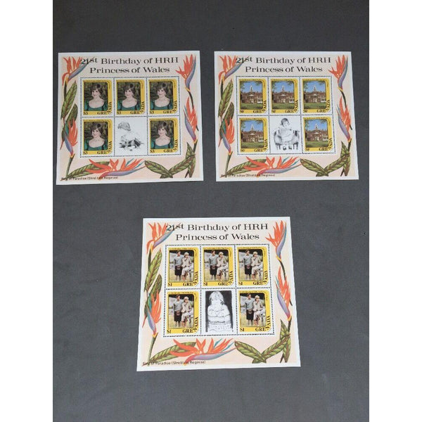 Grenada 1982 SG#1188, 1190, 1192, 21st Birthday Princess Of Wales MNH Sheetlets - uk-cover-lover