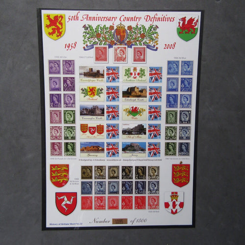 "Bradbury History Of Britain Sheet No.22 ""50th Anniversary Country Definitives"" - uk-cover-lover"