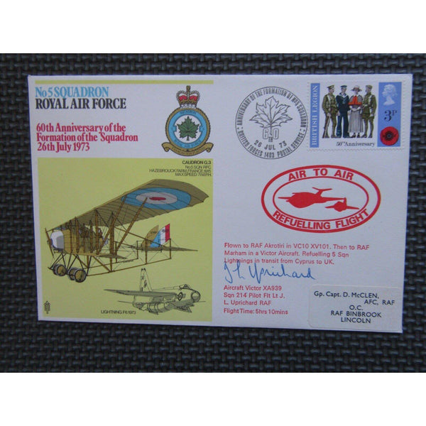 No. 5 Squadron - 60th Anniv. Formation of  Squadron L Uprichard Signed Cover - uk-cover-lover