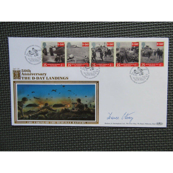Benham 22ct Gold '50th Anniv D-Day Landings' Terence Otway Signed Cover 06/06/94 - uk-cover-lover