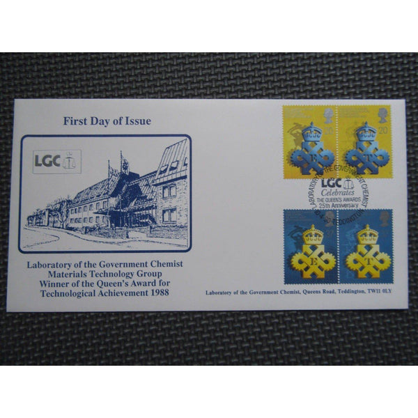 "G.B FDC ""Queens Awards To Industry"" PM ""Laboratory Of The Gov. Chemist"" 10/04/90 - uk-cover-lover"