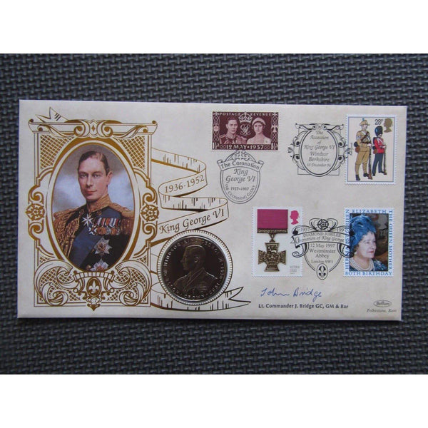 1997 Benham The Reign Of King George VI Coin Cover Signed By John Bridge - uk-cover-lover