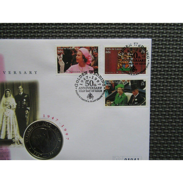 "Turks & Caicos Five Crowns Coin Cover ""Golden Wedding Anniversary"" 21/04/97 - uk-cover-lover"