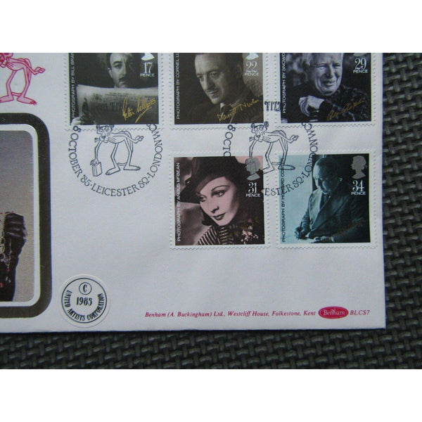 BLCS7 FDC - British Film Year PM British Film Year, Leicester Sq, Pink Panther - uk-cover-lover