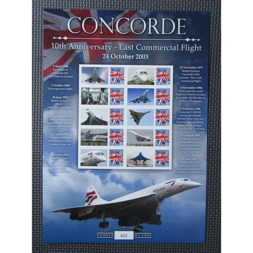 BC-421 Concorde 10th Anniversary Of Last Flight Smilers Sheet - Limited Edition - uk-cover-lover
