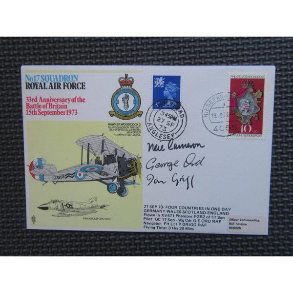 No. 17 Squadron Grigg, Ord & Cameron Signed & Flown Cover - 27/09/73 - uk-cover-lover