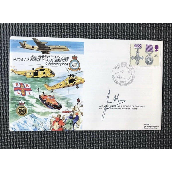 JS(AC)48 - 50th Anniversary RAF Rescue Services - J Morris Signed Cover 05/02/91 - uk-cover-lover