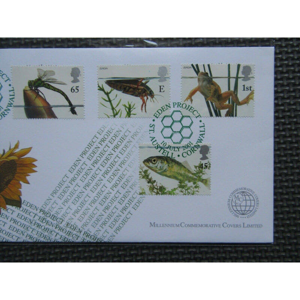 Millennium Commemorative Covers - Pondlife PM Eden Project, St Austell 10/07/01 - uk-cover-lover