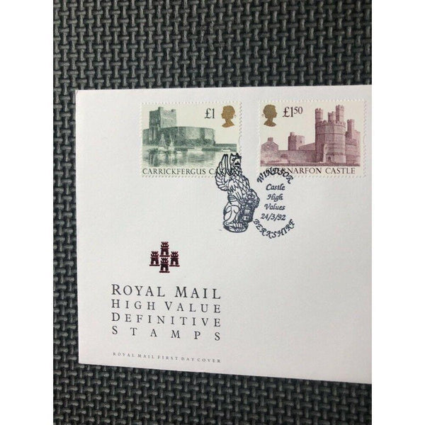 "G.B 1992 High Value Castle Definitives PM ""Windsor, Castle High Values"" 24/03/92 - uk-cover-lover"