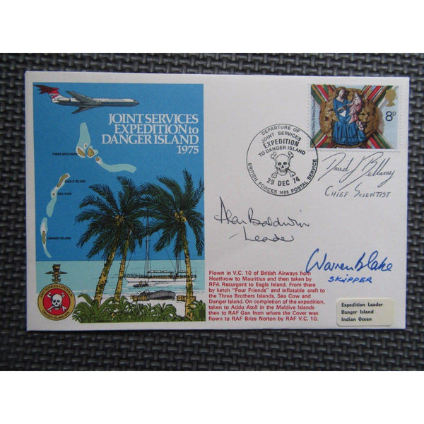'Joint Services Expedition To Danger Island' Signed & Flown Cover 29/12/74 - uk-cover-lover