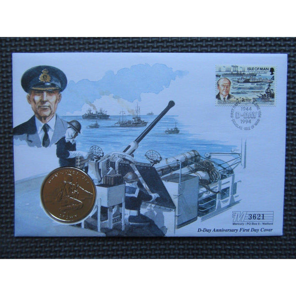 Isle of Man 1 Crown Coin First Day Cover - Sir Bertram Ramsey 06/06/94 - uk-cover-lover