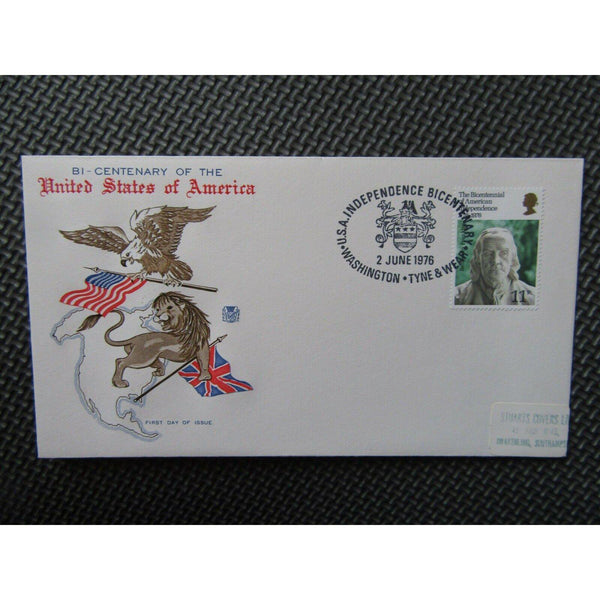 "G.B First Day Cover ""USA Bicentenar"" PM ""USA Independence, Washington"" 02/06/76 - uk-cover-lover"