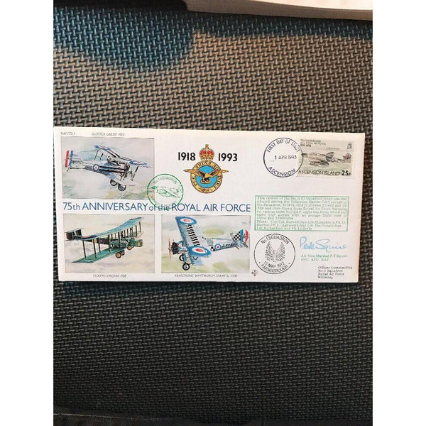 FDC RAF (75) 3 75th Anniversary RAF Signed 'Peter Squire' 01/04/93 - uk-cover-lover