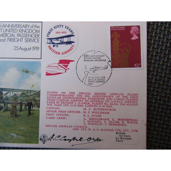 "RAF FF 7 Flown Cover Signed By ""Alan Campbell-Orde"" 25/08/79 - uk-cover-lover"