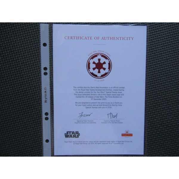 2015 Star Wars Royal Mail Limited Edition Card - Darth Maul - with COA - uk-cover-lover