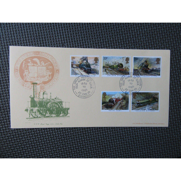 1985 G.B FDC Famous Trains PM - Great Western Town, Swindon - 22/01/85 - uk-cover-lover