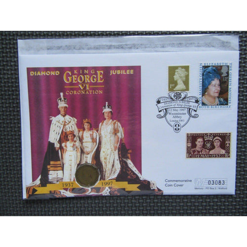 "G.B ""Diamond Jubilee King George VI Coronation"" Coin Cover 12/05/97 - uk-cover-lover"