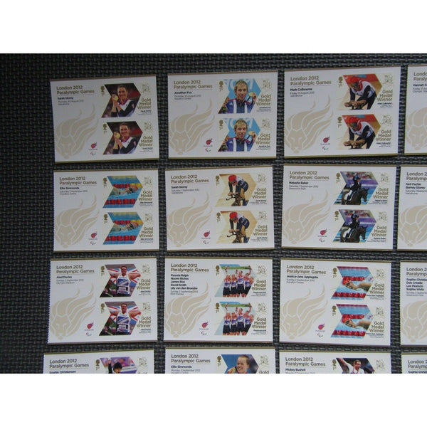 London 2012 Paralympics - Full Set 34 Gold Medal Winners Minisheets (MNH) - uk-cover-lover