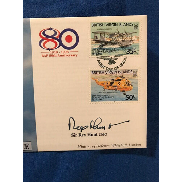 "RAF 80(1) FDC Signed ""Sir Rex Hunt"" Falklands Governor 01/04/98 Ltd Edition - uk-cover-lover"