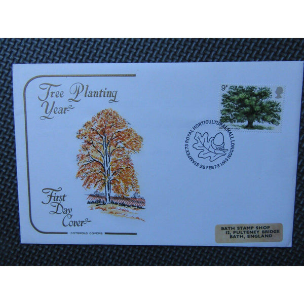 Cotswold FDC- British Trees, The Oak - PM 'Stampex 73,Horticultural Hall 28/2/73 - uk-cover-lover