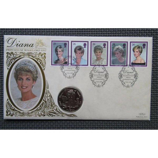 1998 Benham - Diana Princess Of Wales 5 Marka Coin Cover 03/02/98 Ltd Edition - uk-cover-lover