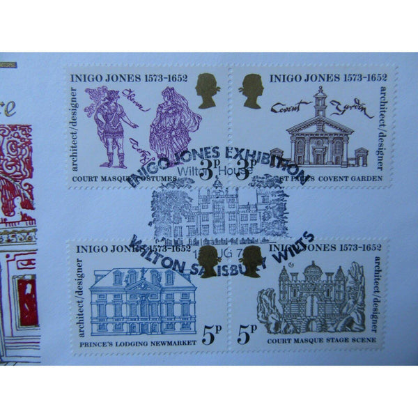 Cotswold FDC - Inigo Jones - PM 'Inigo Jones, Exhibition, Salisbury' 15/08/73 - uk-cover-lover