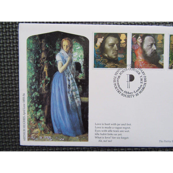 "G.B FDC 1992 ""Tennyson"" PM ""The Poetry Society, SW1"" Official Covercraft Cover - uk-cover-lover"