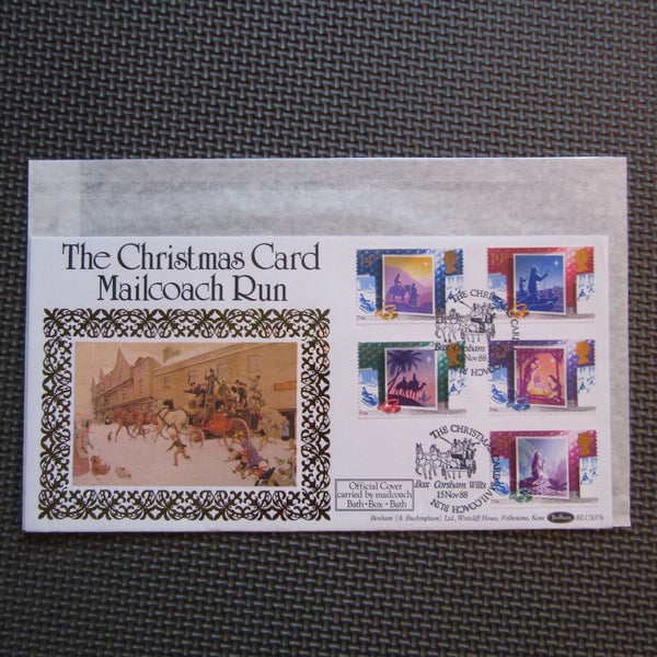 G.B Benham FDC 'Christmas' The Christmas Card Mailcoach Run BLCS37b 15/11/88 - uk-cover-lover