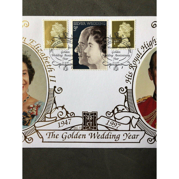 22ct Gold FDC - The Golden Wedding PM 'Golden Wedding Anniversary Year' 21/04/97 - uk-cover-lover