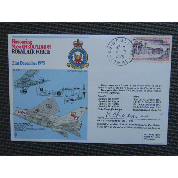 Honouring No. 56 (F) Squadron - Mr R.C. Newman Signed Cover 09/10/75 - uk-cover-lover