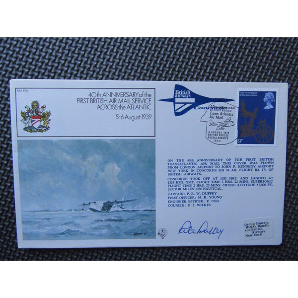 RAF FF6 Concorde Flown Cover Signed Captain P R W Duffey 04/08/79 - uk-cover-lover