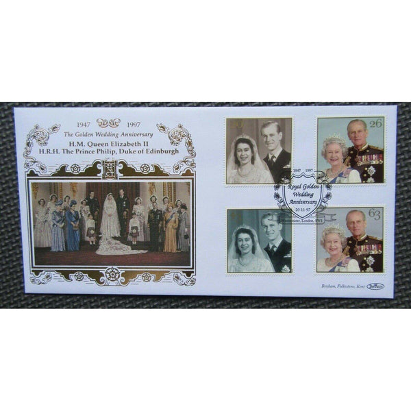 Benham 22ct Gold Limited Edition Cover - The Golden Wedding Anniversary 20/11/97 - uk-cover-lover