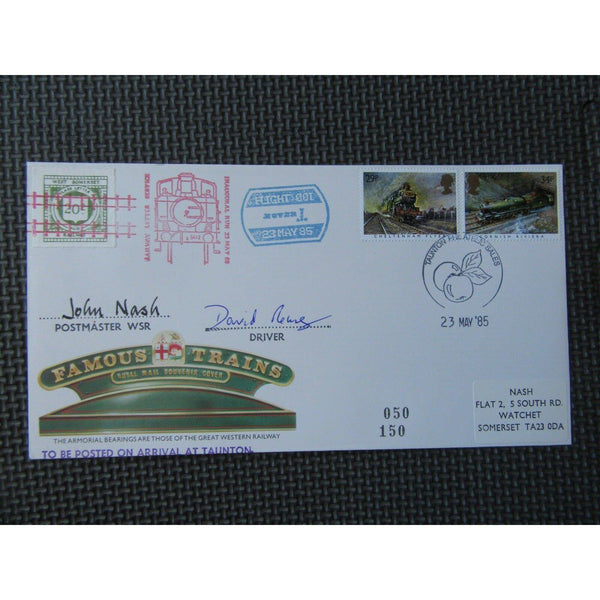 1985 Railway Letter Service Inaugural Run John Nash & David Rouse Signed Cover - uk-cover-lover