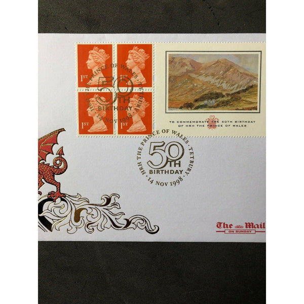 Mail On Sunday FDC - Prince Of Wales PM 'Prince of Wales 50th Birthday' 14/11/98 - uk-cover-lover