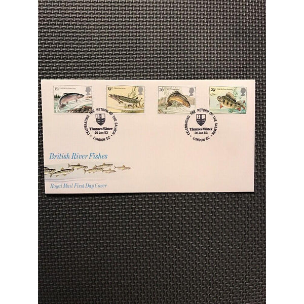 G.B FDC British River Fishes PM 'The Return of the Salmon Thames Water' 26/01/83 - uk-cover-lover