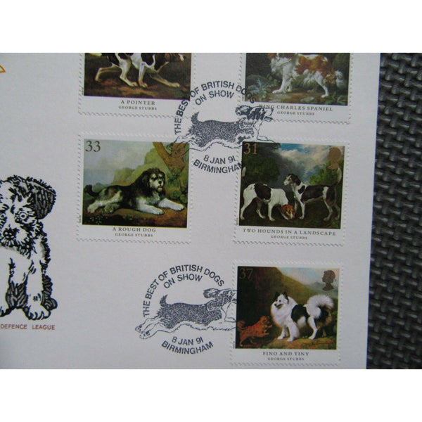 "G.B First Day Cover ""Dogs"" PM ""Best Of British Dogs, Birmingham"" 08/01/91 - uk-cover-lover"