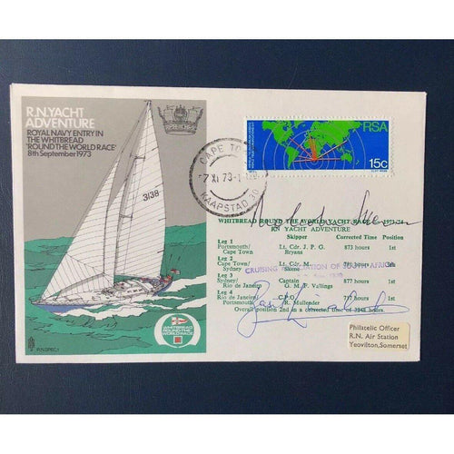 1973 R N Yacht Adventure - Whitbread Round The World Race - Multi Signed Cover - uk-cover-lover