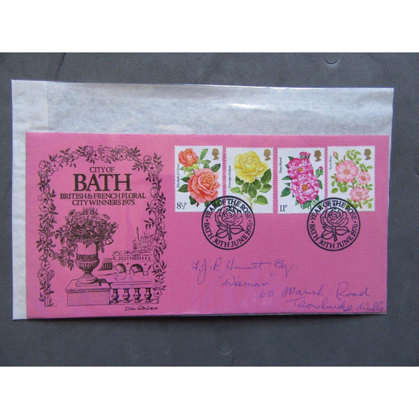 "G.B FDC 1976 'Roses' PM ""Year Of The Rose, Bath"" City Of Bath Official Cover - uk-cover-lover"
