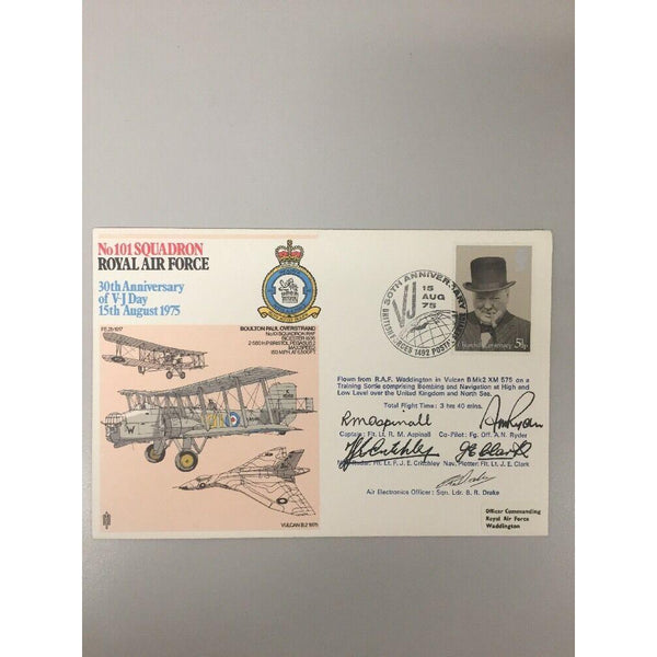 Flown Vulcan RAF 101 Sqn Signed 5 Vulcan Crew V-J Day 15/08/75 - uk-cover-lover