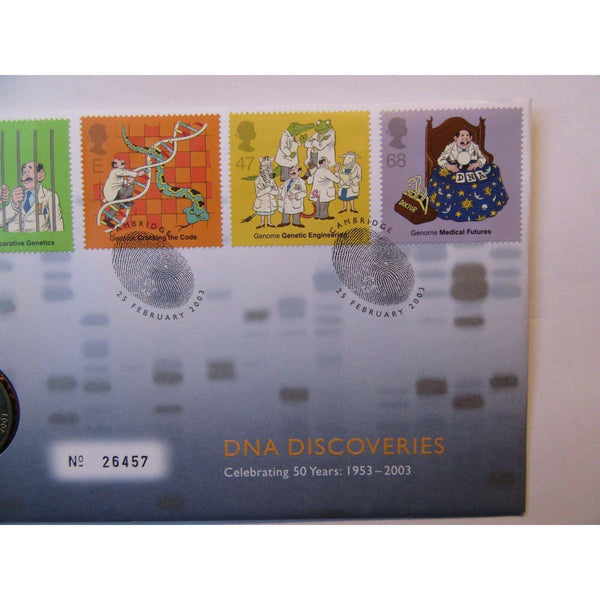 "G.B 2003 Coin Cover ""DNA Discoveries"" Ltd Edition 25/02/03 - uk-cover-lover"