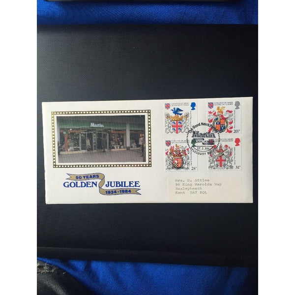 "G.B FDC ""Heraldry"" Official Martins ""The Good News People (Scarce Cover) CAT £90 - uk-cover-lover"