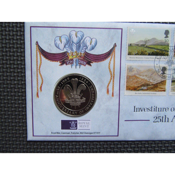 "G.B 1994 Coin Cover ""Investiture Of The Prince Of Wales 25th Anniv."" Ltd Edition - uk-cover-lover"