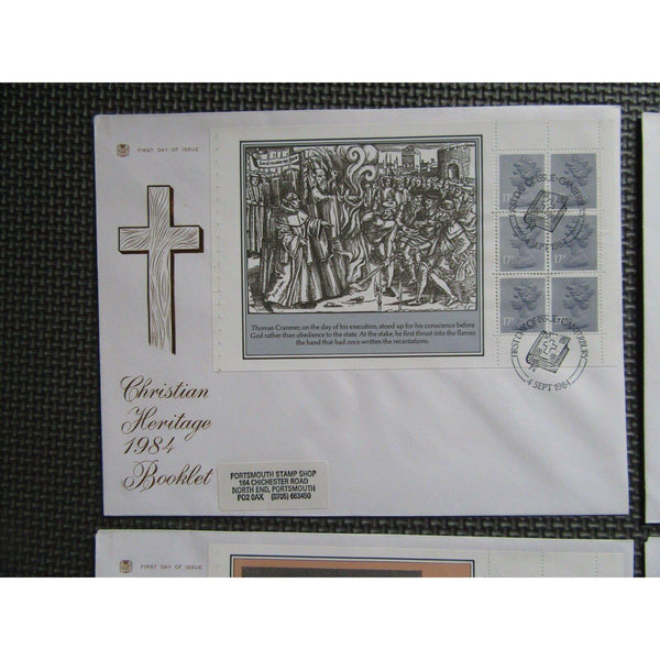 "Prestige Booklet Pane Set 4 Covers ""Christian Heritage"" PM ""Canterbury"" 04/09/84 - uk-cover-lover"