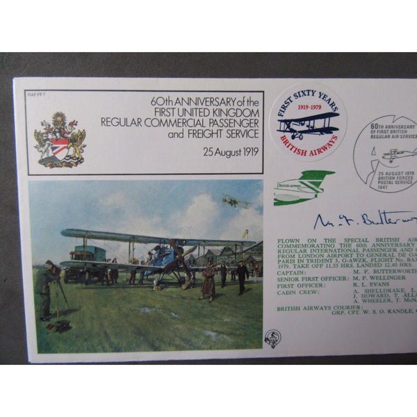 RAF FF7 Cover 60th Anniv. Commercial Passenger Service Signed M F Butterworth - uk-cover-lover