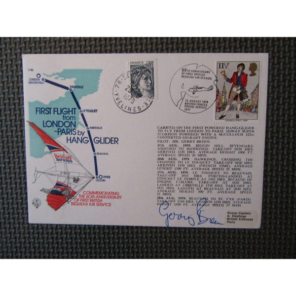 "First Flight London To Paris By Hang Glider Cover Signed ""Gerry Breen"" 25/08/79 - uk-cover-lover"